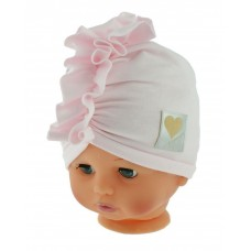Czapka turban bawełniana 38-42 jasno różowa